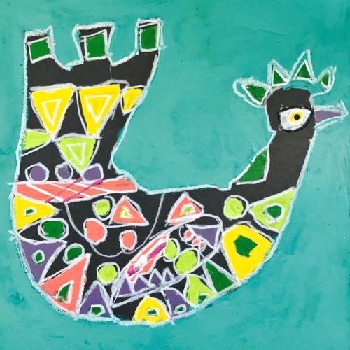Folk Art Pastel Bird (1)